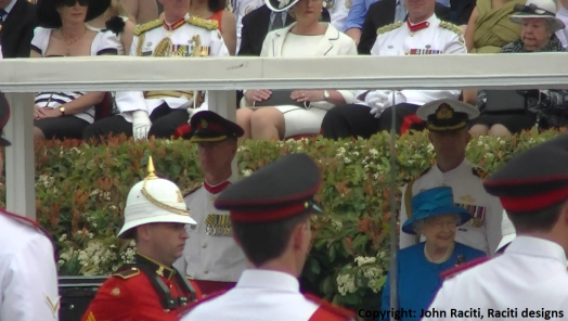 Her Majesty The Queen presenting the new colours to The Royal Military College.